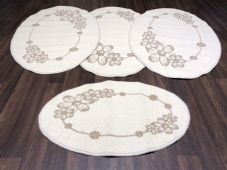 ROMANY GYPSY WASHABLE  SET OF TOURER SIZE 67X120CM MATS/RUG CREAM/BEIGE NON SLIP